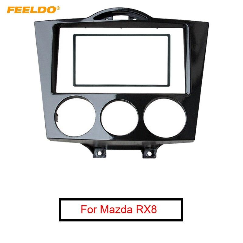 FEELDO 2DIN שחור רכב אודיו רדיו Fascia מסגרת עבור מאזדה RX8 2003 2008 סטריאו צלחת לקצץ פנל דאש הר ערכת # AM5007-בתחבושות מתוך רכבים ואופנועים באתר AUTO MAXX