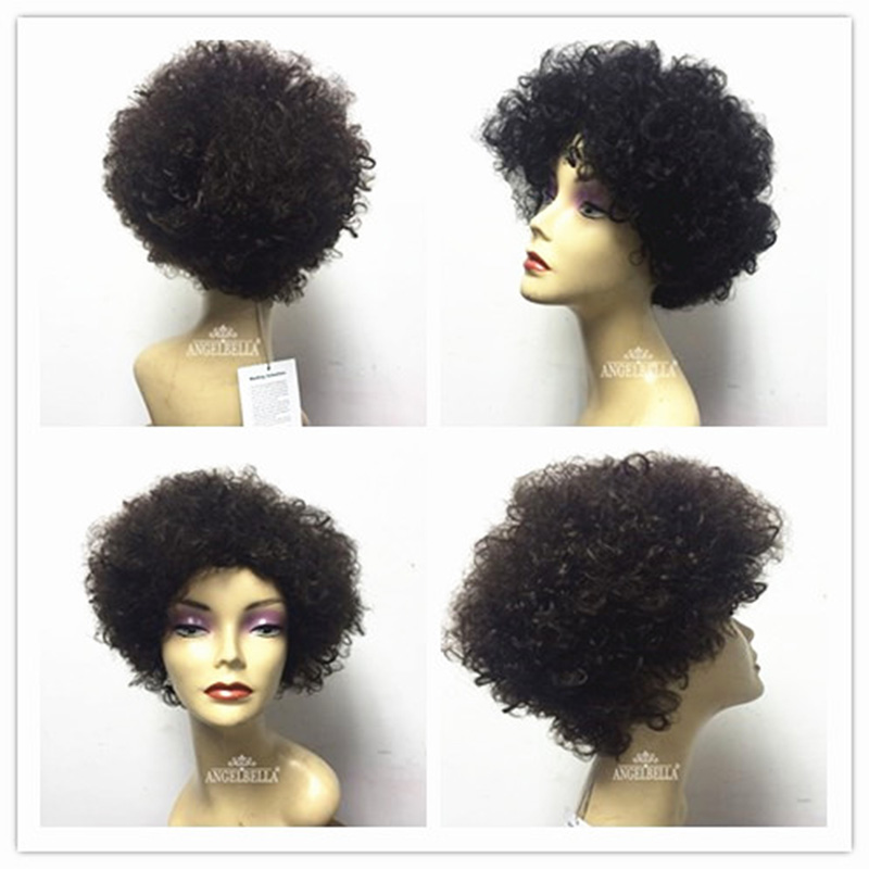 Angelbella Short Afro Curly Wigs 10 Inches Natural Color