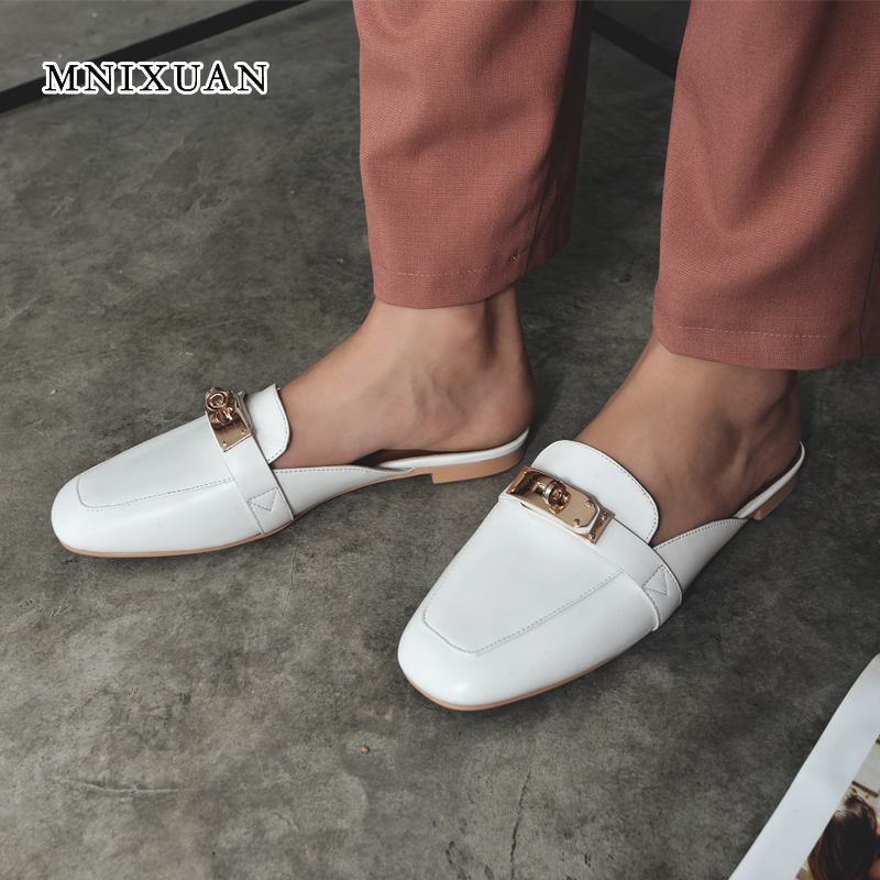 MNIXUAN women shoes slippers sandals 2019 spring summer new fashion square toe real leather casual slip