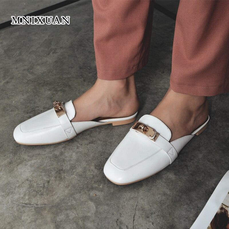 MNIXUAN scarpe da donna pantofole sandali 2018 primavera estate nuovo di modo punta quadrata in vera pelle casual slip on appartamento ciabatte grande size 9-in Ballerine da donna da Scarpe su  Gruppo 1