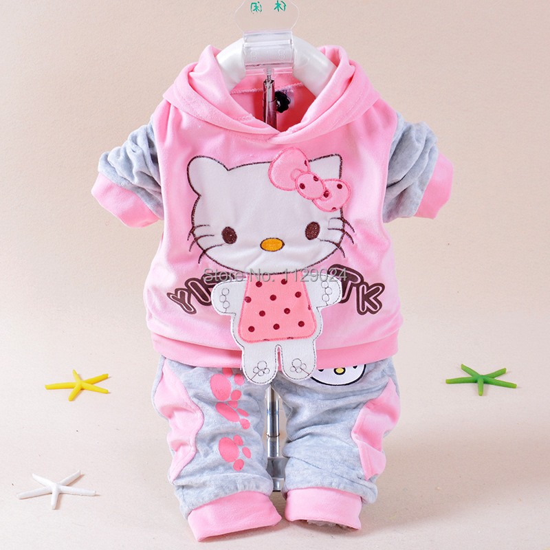102848324 New Baby Winter Clothing Sets Hello Kitty Hooded Coat+ Pant Twinset Long  Sleeve Velvet Thick Newborn Clothes Infants Costume