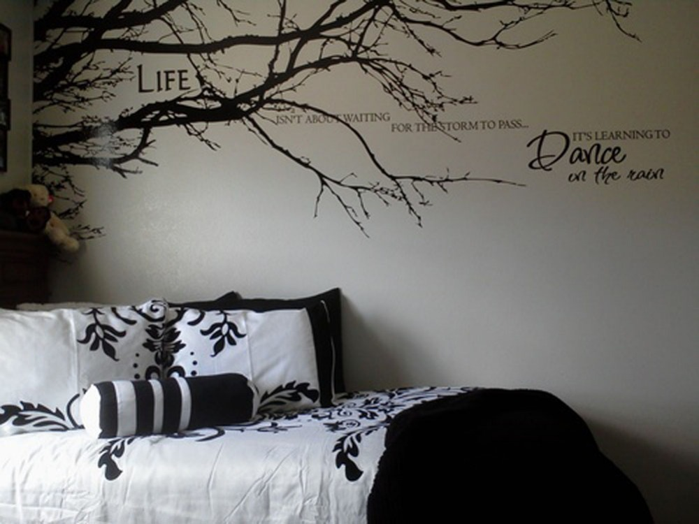 1PCS Black Tree Top Branches Wall Stickers DIY Removable Mural Wall