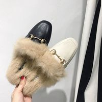 Outside Real Fox Fur Indoor House Slipper Plush Slippers Shoes Home Slippers Women Shoes for Bedroom Zapato De Piso Elegantes