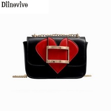 DIINOVIVO Heart Shape Design Women's Bag PU Leather Handbag Pouch Female Bags Small Shoulder Crossbody Bags For Women WHDV1161