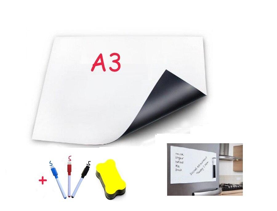 A3 Tamanho 3 1 Canetas Apagador Quadro Magnético para Geladeira Vinil Flexível Home Office Cozinha Ímã Seca Apagar Bordo Branco placas