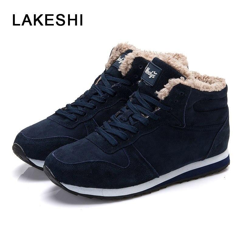 LAKESHI Solid Men Sneakers 2018 Winter Men Casual Shoes Blue Male Shoes Suede Warm Fashion Cotton Shoes Lace-Up Men Footwear casual slimming lace up large pocket solid color cotton blend pants for men