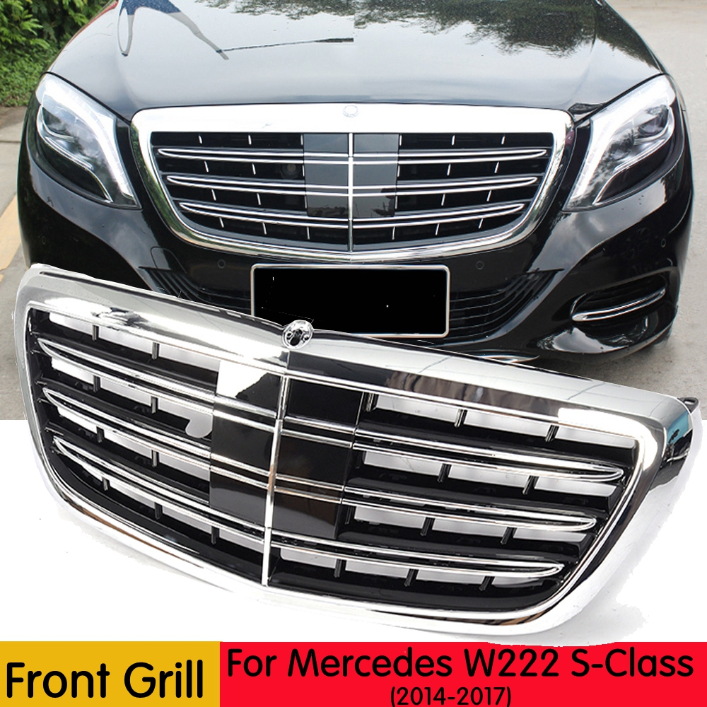NEW S Class Grille For Mercedes Benz W222 Front Chrome ABS Racing Grill for S400 S500 S550 C217 2014 2017 Front Grille