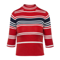 Sisjuly Autumn Winter Casual Thick Female Patchwork Orange Red Sweater Outerwear O Collar Street Wear Pullover