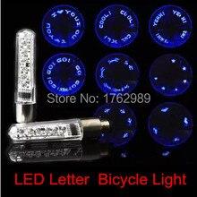 Bike Light Bicycle Wheel Valve Tire Tyre Double Sense LED Letter Lamp Cycling Flashing Letter Spokes Light luces led bicicleta