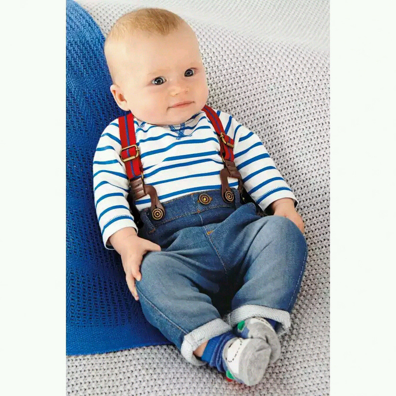 noworodek chłopiec ubrania zestawy bawełniane paski tshirt + - Ubrania dziecięce - Zdjęcie 3