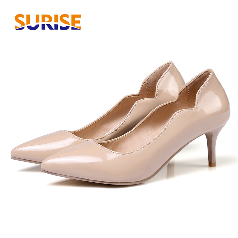 Elegant Dress Women Pumps 6cm High Spike Heel Patent Leather Pointed Toe Slip On Casual Party Wedding Office Lady Thin Stiletto big size high spike heel platform women pumps peep open toe leopard patent leather party wedding slip on sexy lady thin stiletto