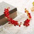 2016 Mujeres de La Manera Hecha A Mano Diadema de Boda Rojo Corona de La perla Garland Nupcial Elegante flores Del Pelo Accesorios Headwear de la Hoja de Oro