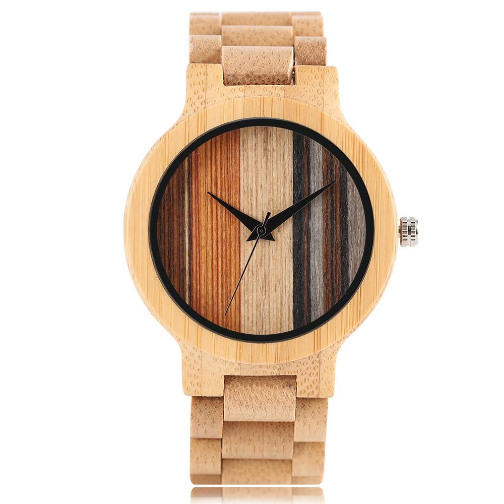 Full Bamboo Hand-made Design High Quality Men's Quartz Wristwatch Color Stripes Dial Bracelet Clasp Casual Fashion Men Watch