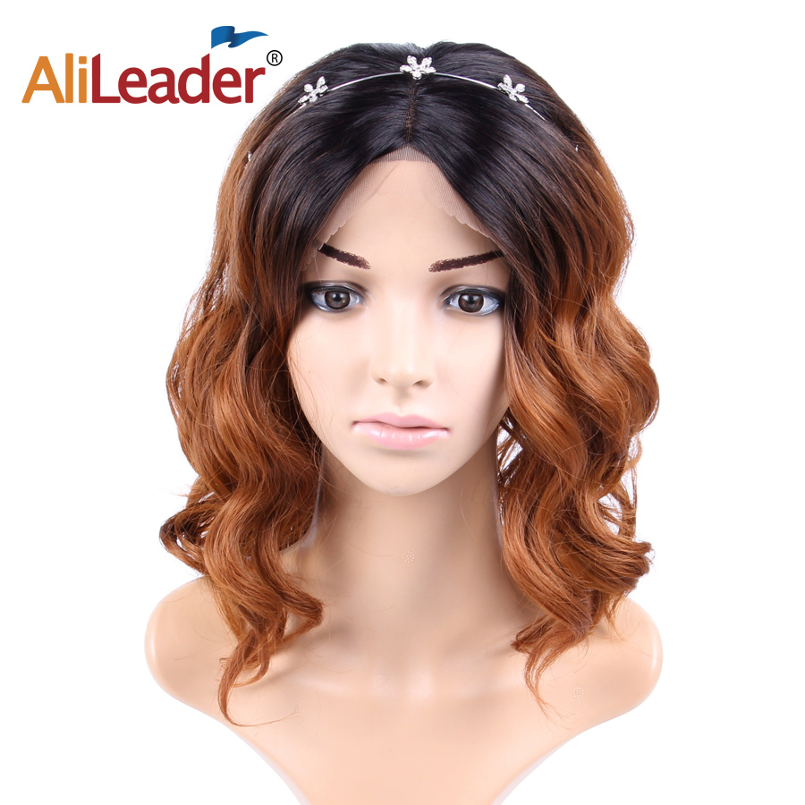 Alileader Wig Short-Hair Lace-Front Full-Wigs Brown Synthetic Ombre African Women 3-Colors