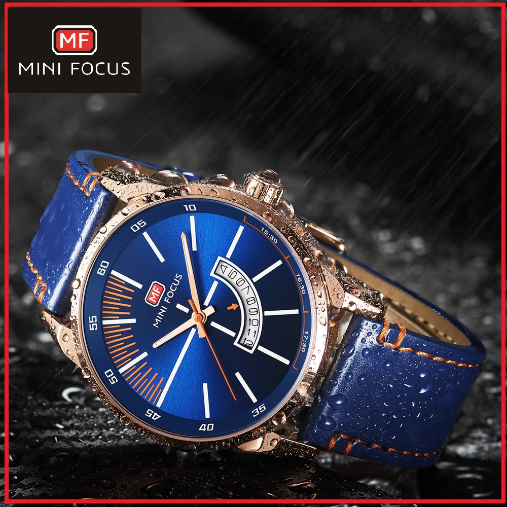 MINIFOCUS 2019 Watch men Luxury Brand leather waterproof Wristwatch Men military Sport Date fashion Men Business watches mf0132(China)
