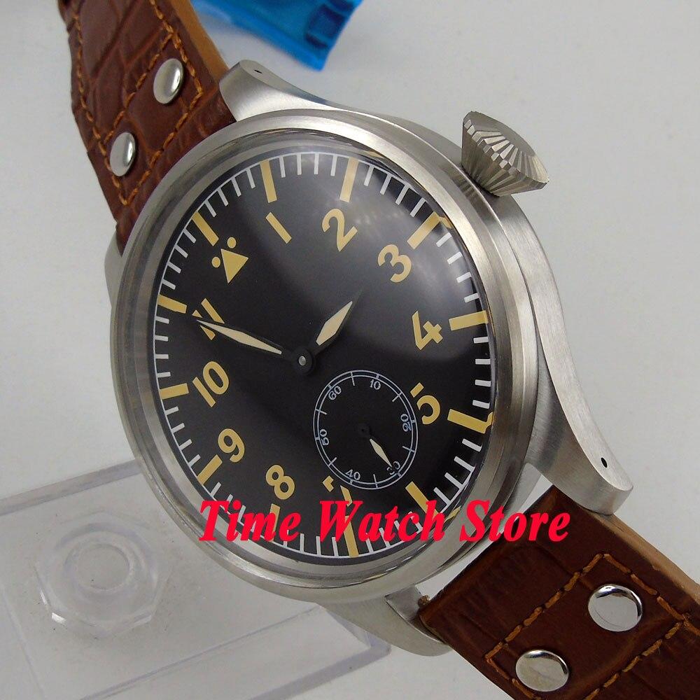 eeaa2440307 Cara grande 55mm Parnis relógio dos homens mostrador preto luminosa 17  jóias mecânico 6498 mão winding