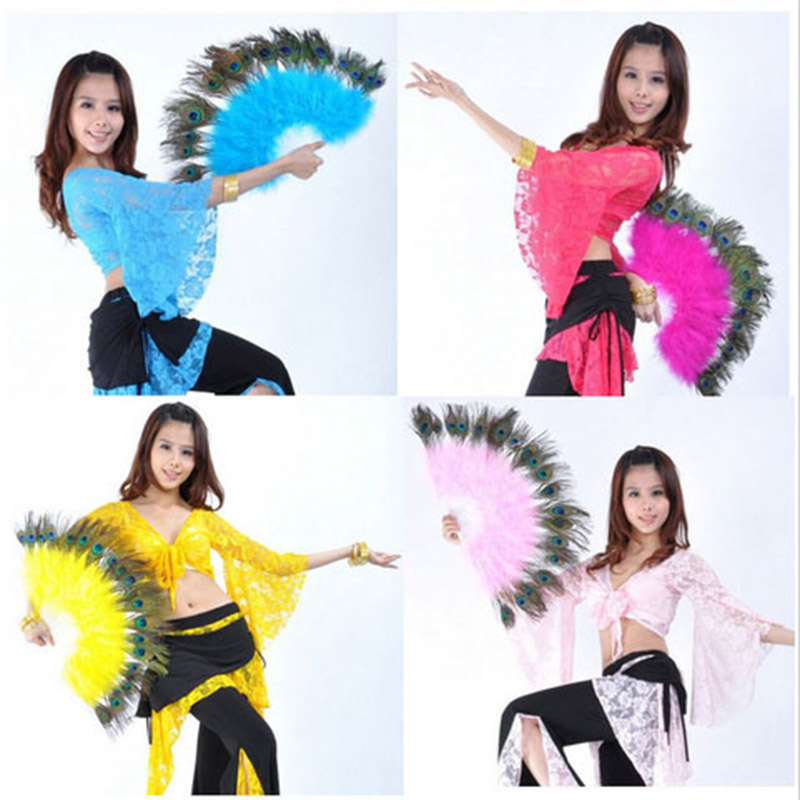 2016 High Quality Performance Belly Dance Accessory Peacock Feather Fans Belly Dancing Props 10 Colors Available