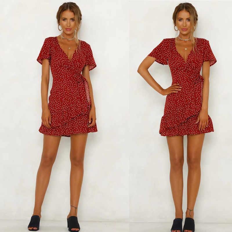 Yocalor женское красное платье в горошек с v-образным вырезом летнее платье с перекрестной шнуровкой тонкое сексуальное короткое мини винтажное платье с оборками
