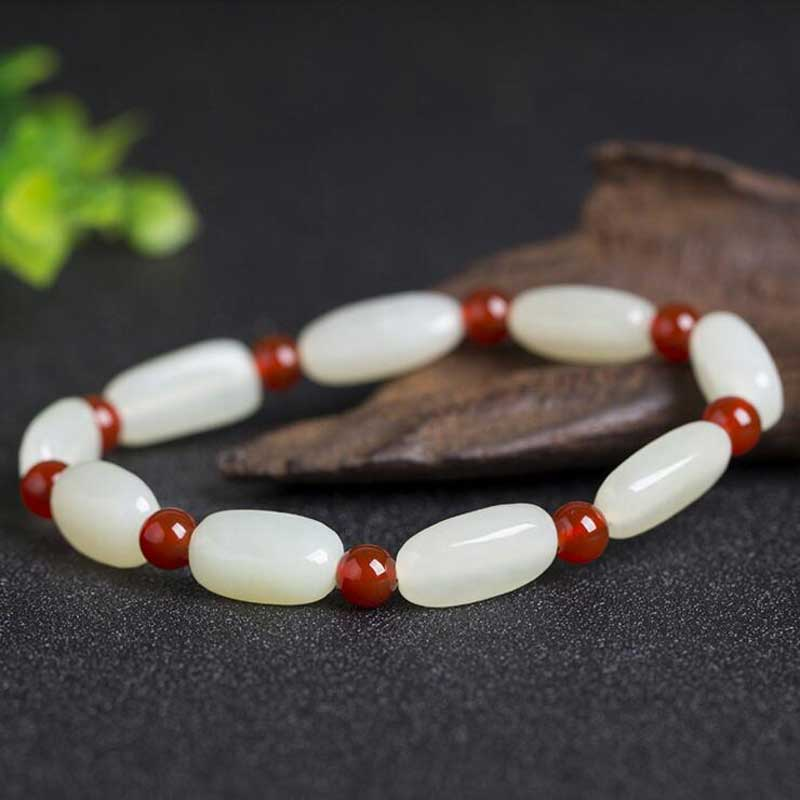 KYSZDL High quality natural Hetian Yu stone bracelet fashion Women white jewelry gift wholesale