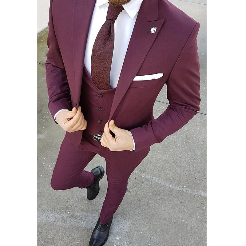 Fantastic One Button Burgundy Groom Tuxedos Groomsmen Peak Lapel Mens Suits Blazers (Jacket+Pants+Vest+Tie) W:1196