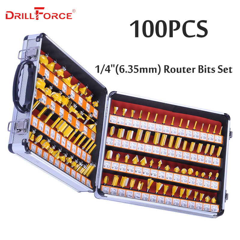 Drillforce 100PCS 1/4(6.35mm) Router Bits Set Professional Shank Tungsten Carbide Router Bit Cutter Set +Aluminun Case For Wood diy 12pcs 1 4 professional router bits set shank tungsten carbide router bit cutter set with wood case for woodworking tool kit