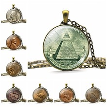 All Seeing Eye Necklace One Dollar Coin Pendant Eye of Providence Jewelry Vintage Egypt Pyramid Necklace for Men Women(China)