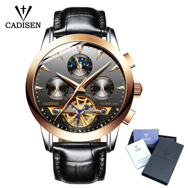 Cadisen Men Watch Skeleton Automatic Mechanical Leather Wristwatch Mans Fashion Business Watches Masculino Top Brand Luxury