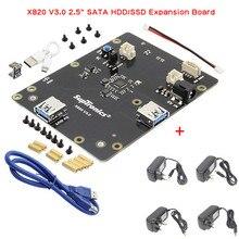 """X820 V3.0 Módulo de Disco Rígido Móvel USB 2.5 """"SATA HDD/SSD De Armazenamento Placa de Expansão para Raspberry Pi 3 B +"""