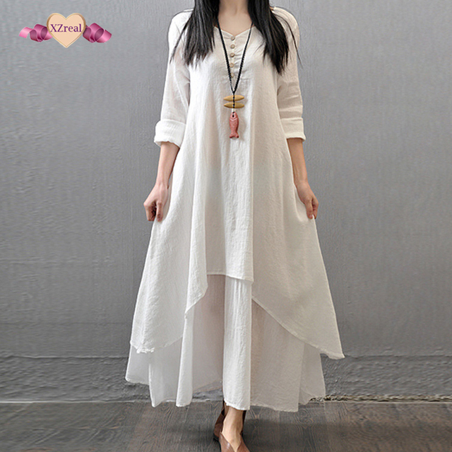Preferred Women Tunic Maxi Dress Spring Autumn New Cotton Linen Robe Casual  IU03