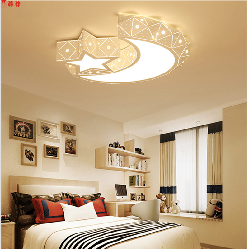 Creative star half moon led ceiling light 85-265V 24W led child baby room lights ceiling lamps bedroom decoration lights nordic japanese creative clouds led ceiling lamp wooden 24w child baby room lights ceiling lamps bedroom decoration lights 220v