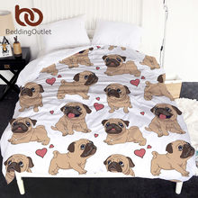 BeddingOutlet Hippie Pug Duvet Cover Animal Cartoon Single Quilt Cover for Kids Cute Bulldog Print Soft 1-Piece Bedlinen Bedding(China)
