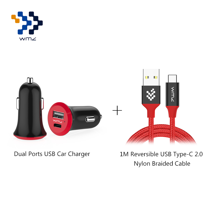 WMZ USB universel double Ports adaptateur chargeur de voiture + 1 M rouge tressé type-c câble USB pour téléphones mobiles Xiaomi5 6 One Plus 3 3 T LG G5