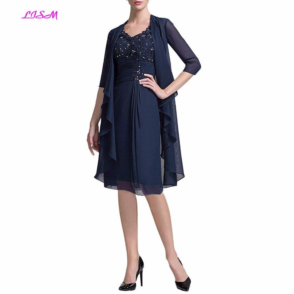 Genou longueur en mousseline de soie perlé corsage mère de la mariée robe avec veste col en V dentelle Appliques robes de dîner pour les femmes