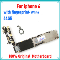 White for iphone 6 Motherboard with IOS System,with Full unlocked for iphone 6 Mainboard with Touch ID,100% Original 64gb