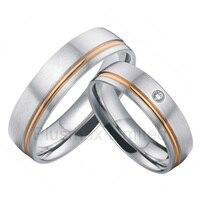 Anel masculino титановый ручной работы розовая Золотая инкрустация обручальное кольцо для пар