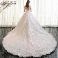 Modabelle 2018 Vintage Wedding Dress Lace Sleeve Dubai Online Shopping Handmade Applique Long Tail Ivory Luxury