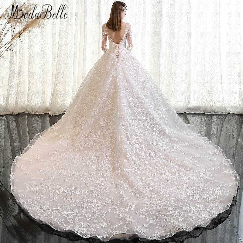 Modabelle 2018 Vintage Wedding Dress Lace Sleeve Dubai