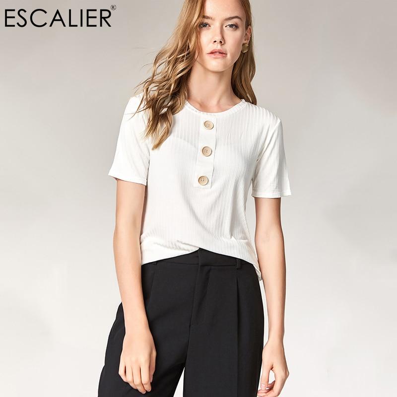 ESCALIER Summer Women Casual Shirt Fashion Tops Tees Rayon Button T-shirts O-Neck Loose Elastic Short Sleeve T-shirt