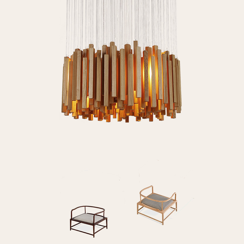 Solid wood modern pendant light Chinese Nordic creative minimalist living room dining wood ball wooden pendant lamp creative european country wood chandeliers artistic for living room decoration modern minimalist style wooden e27 pendant lamp