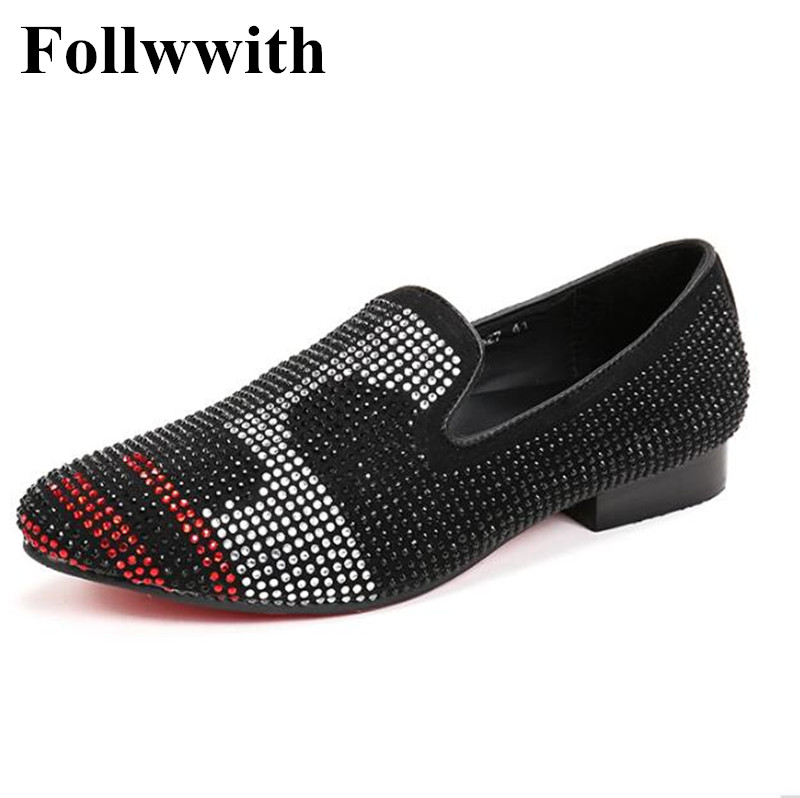 2018 New Fashion Hot Sales Number Letter Crystal Rhinestone Cover Smoking Men Casual Shoes Flats Sapatos Mujer Men Loafers