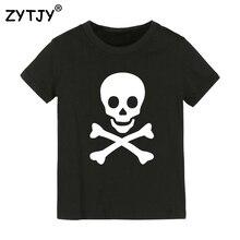 Детская футболка с принтом черепа футболка для мальчиков и девочек, детская одежда для малышей Забавные футболки Прямая поставка Y-42