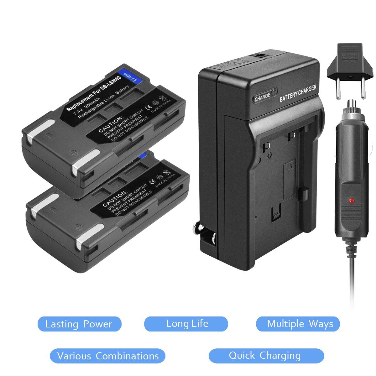 2X SB-LSM80 SB LSM80 Rechargeable Li-ion Battery+Battery Charger For SAMSUNG VP-DC175 VP-DC565 VP-DC575 SC-D357 L20