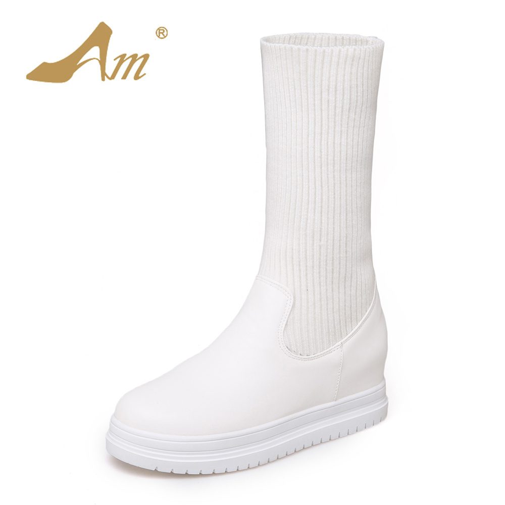 AME Women Size 34-43 Mid-Calf Elastic Band Boots Fashion Woman Preppy Style Snow Boots for Girl Ladies Shoes double buckle cross straps mid calf boots