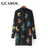 GCAROL New Autumn Winter Floral Printed Dress Stand Collar Full Sleeve Fashion Vintage Female Dress