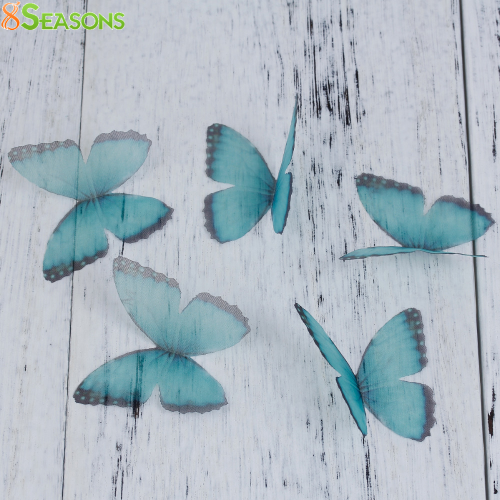 8SEASONS Blue & Purple Organza Ethereal Butterfly Gradient Color For DIY & Craft Jewelry Making Embellishment, 5 PCs