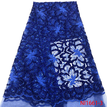 Royal Blue Sequins Lace Fabric African Lace with Sequins Fashionable Embroidery Flowers Cord Lace for Women Wedding NI1661-3