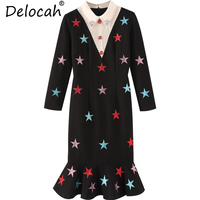 Delocah Summer Women Dress Runway Fashion Designer Sequined Star Embroidery Modern Elegant Casual Black Trumpet Mermaid Dress