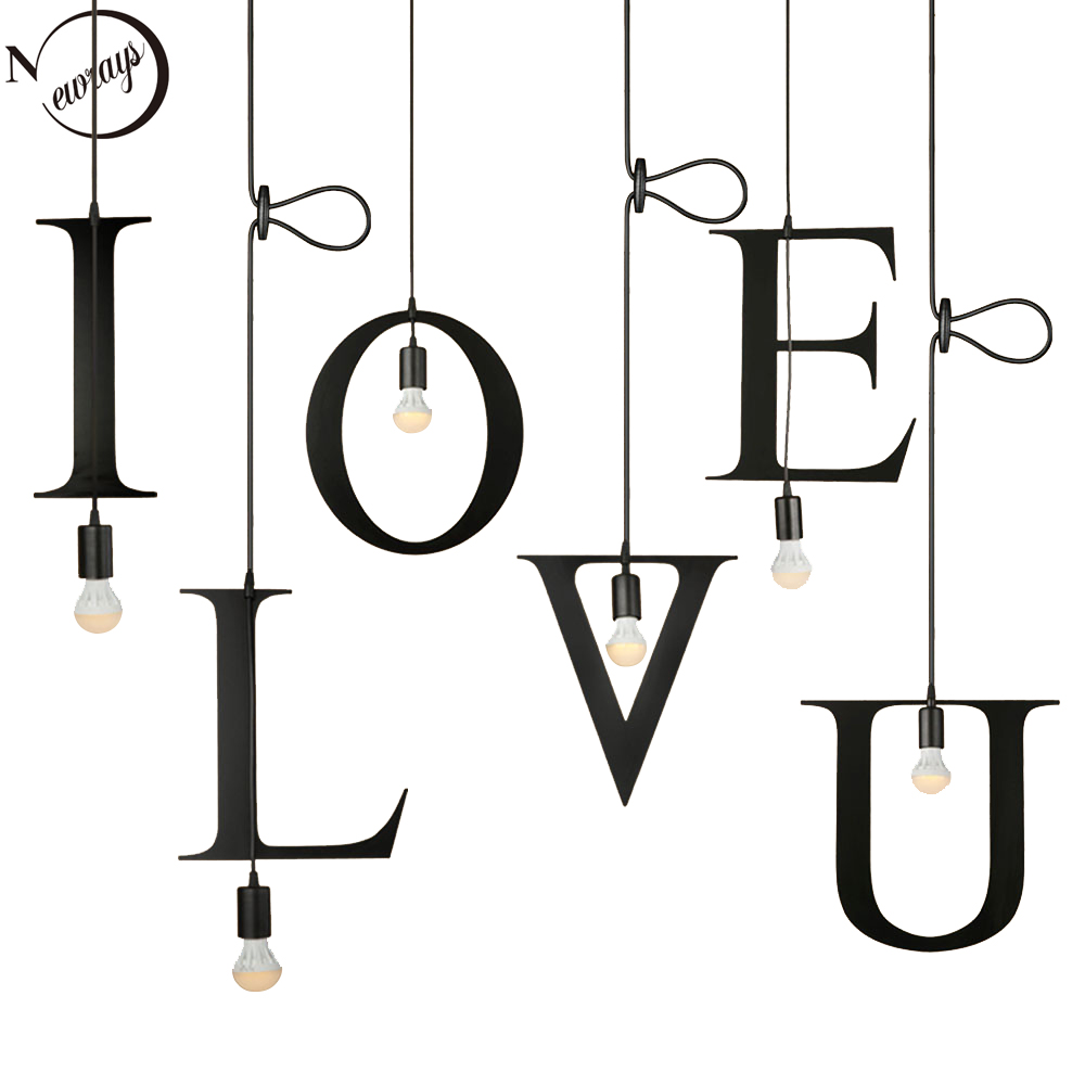 Loft industrial iron letters combination A-Z pendant light LED E27 modern creative hanging lamp for restautant shop cafe lobbyLoft industrial iron letters combination A-Z pendant light LED E27 modern creative hanging lamp for restautant shop cafe lobby