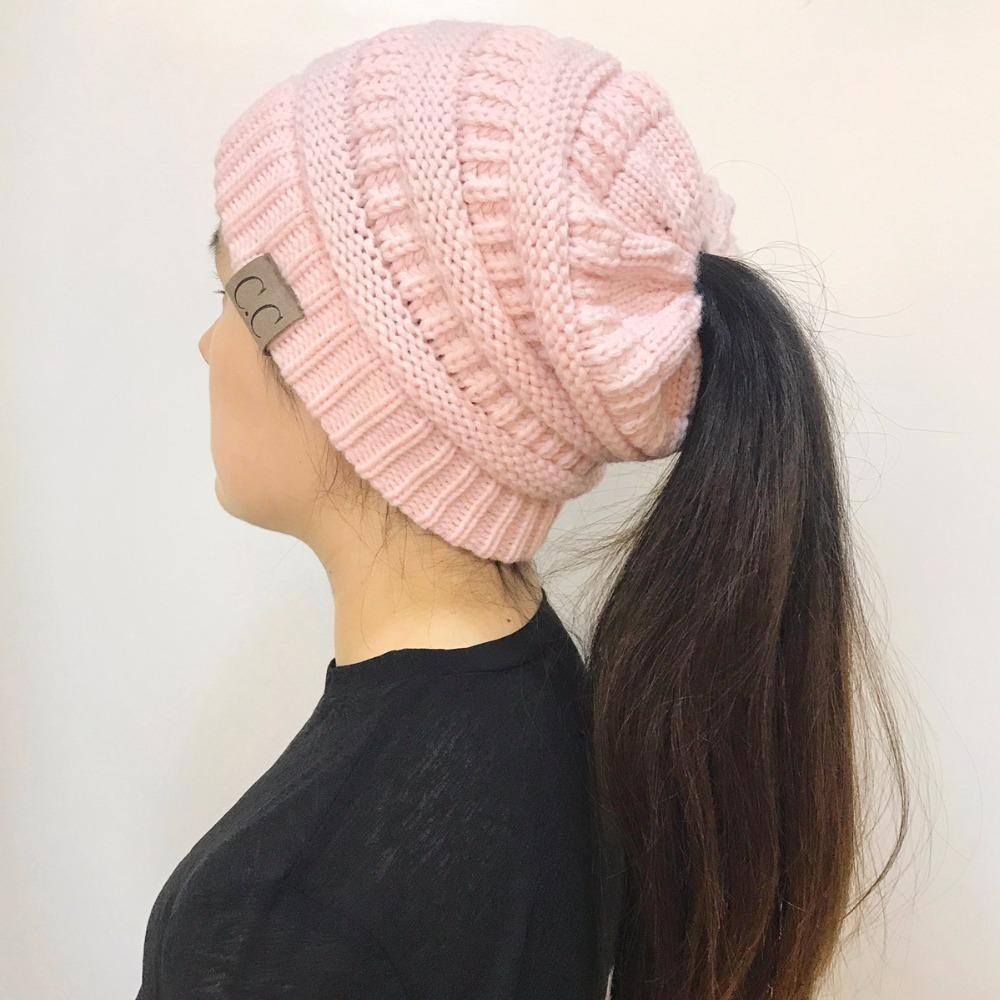7b0e39455d5 BONJEAN Women Winter Knitted Cap Casual CC labeling Beanies Hat High bun  Ponytail 10 colors Hip-Hop Skullies Beanie turban hat