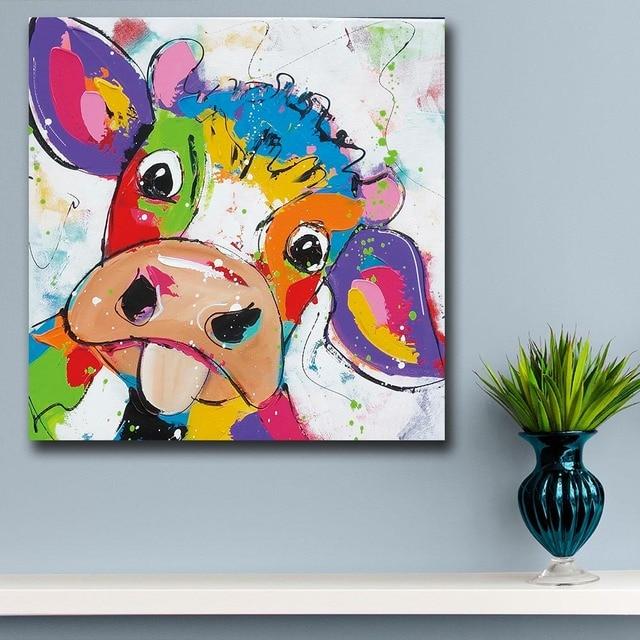 animal pop art mignon petite vache peinture l 39 huile mur art paiting toile peintures d cor la. Black Bedroom Furniture Sets. Home Design Ideas